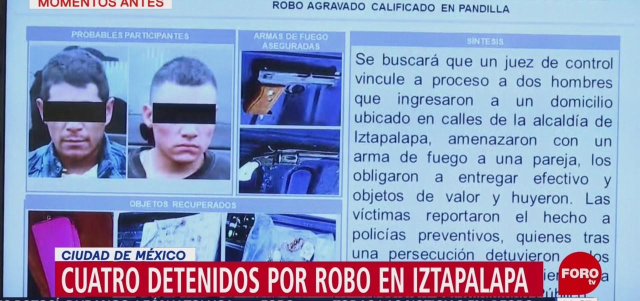 Detienen a cuatro presuntos asaltantes en Iztapalapa