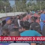 Detienen a presunto ladrón en campamento de caravana migrante