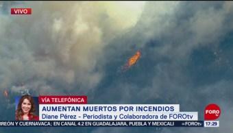 Disminuye intensidad del viento en California; avanza el fuego