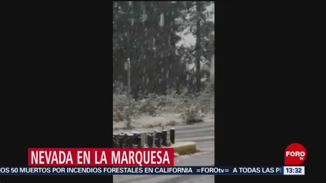 Reportan caída de nieve en la Marquesa