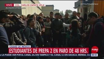 Estudiantes de Prepa 2 realizan paro para exigir salida de porros