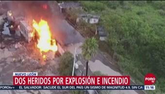 Explosión de tanques de combustible deja 2 lesionados en Guadalupe, Nuevo León
