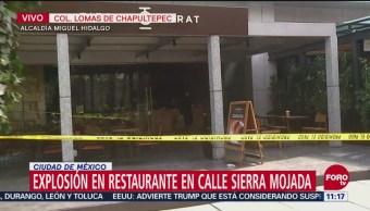 Explosión en restaurante en alcaldía Miguel Hidalgo, CDMX