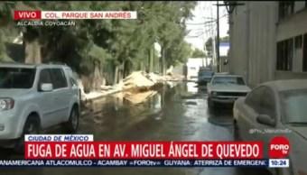 Fuga de agua en avenida Miguel Ángel de Quevedo