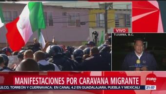 Habitantes de Tijuana se enfrentan a favor y en contra de migrantes
