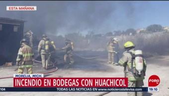 Incendio en bodegas con huachicol en Morelia, Michoacán