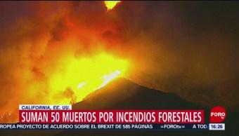 Incendios en California suman 50 víctimas mortales