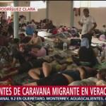 Integrantes de cuarta caravana migrante continúan en Veracruz