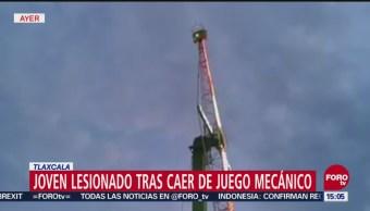 Joven resulta lesionado tras caer de juego mecánico en Tlaxcala
