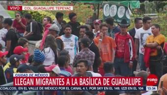 Llegan migrantes en la Basílica de Guadalupe, CDMX