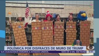 Maestros se disfrazan de muro fronterizo en Estados Unidos