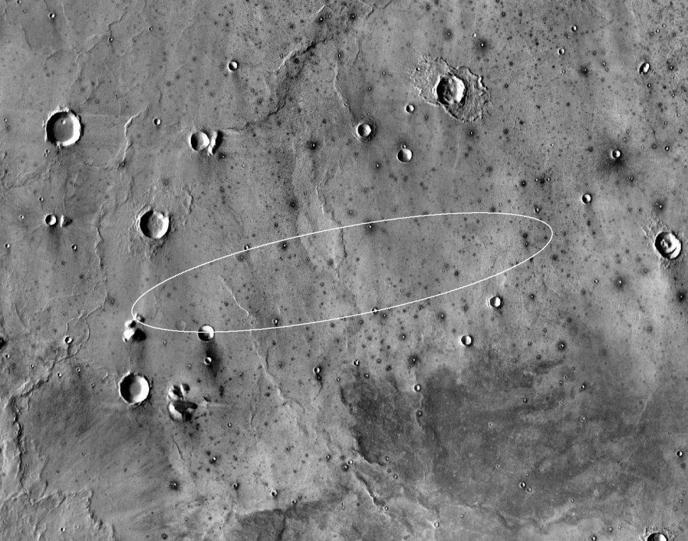 Mapa que muestra el sitio propuesto para el aterrizaje de la misión InSight en mayo de 2016. La elipse se encuentra dentro de la zona norte de Elysium Planitia (NASA JPL-Caltech)