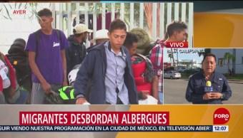 Miembros de la caravana migrante desbordan albergues en Tijuana