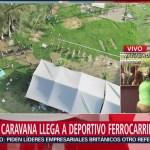 Segunda caravana llega a deportivo Ferrocarrilero en Oaxaca