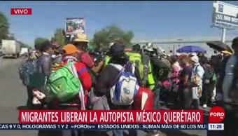 Migrantes liberan la autopista México-Querétaro, alcanzan acuerdo con autoridades