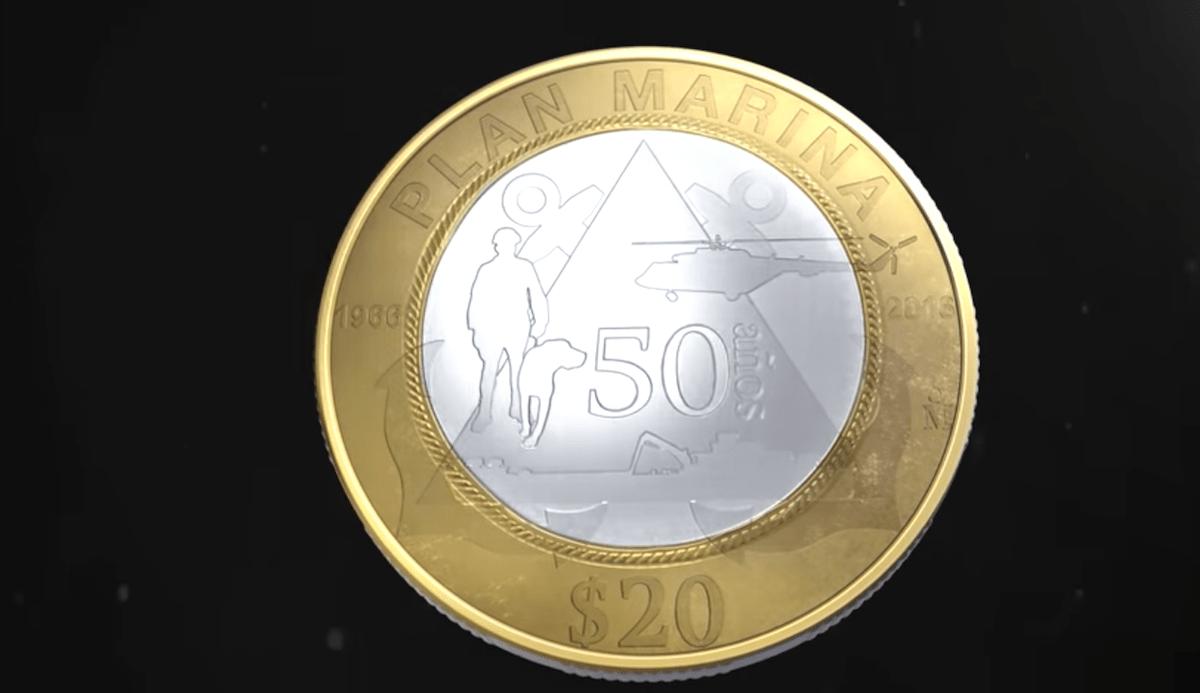 Banco México Moneda 20 Pesos Secretaría Marina