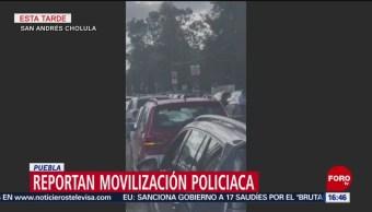 Movilización policiaca en plaza comercial en Cholula, Puebla