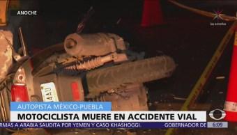 Muere hombre tras chocar motocicleta en la México-Puebla