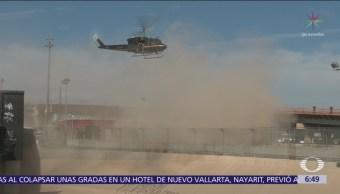 Patrulla Fronteriza de Texas realiza simulacro para contener caravana migrante