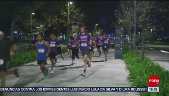 """Realizan carrera nocturna en el parque """"La Mexicana"""""""