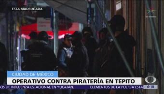 Realizan operativo contra la piratería en Tepito
