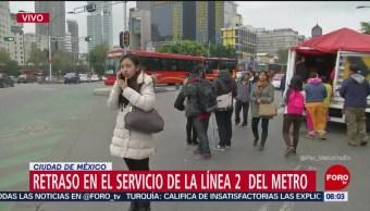 Reportan retraso en el servicio de la Línea 2 del Metro CDMX