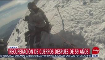 Rescatan cuerpos de alpinistas 59 años después