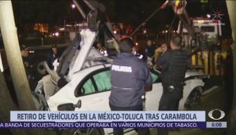 Retiran vehículos en la México-Toluca tras carambola que dejó 9 muertos