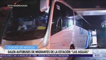 Salen autobuses de migrantes de la estación 'Las Agujas'