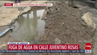 Se registra fuga de agua en calle Juventino Rosas, CDMX