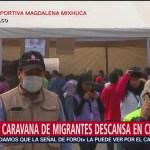 Segunda caravana migrante descansa en la CDMX