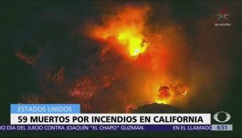Sube a 59 el número de muertos por incendios forestales en California