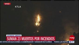 Suman 23 muertos por incendio forestal en California
