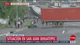 Vecinos colocan tráiler como barricada en la México-Pachuca