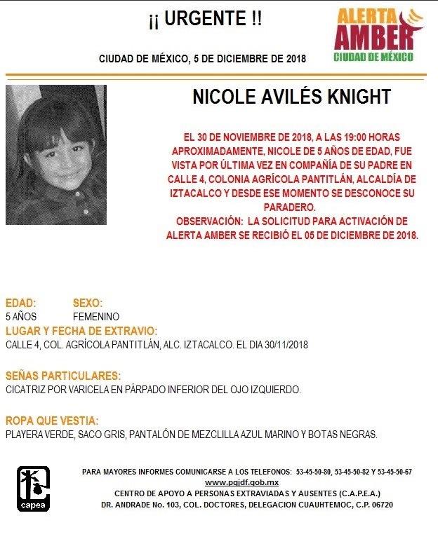 Alerta Ámber: ayuda para localizar a Nicole Avilés Knight