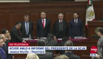Así transcurrió la asistencia de AMLO al informe del presidente de la SCJN