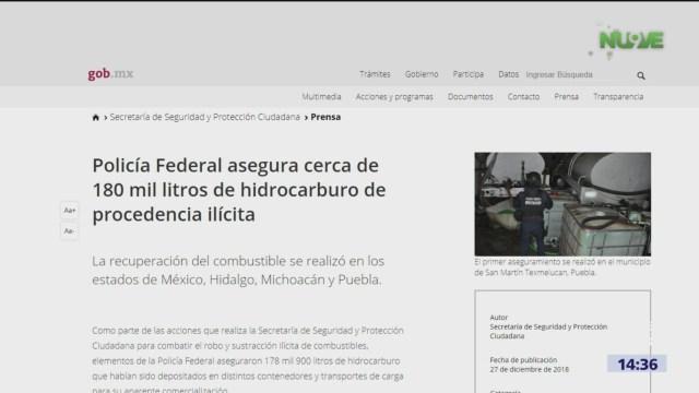 Autoridades aseguran 180 mil litros de hidrocarburo robado