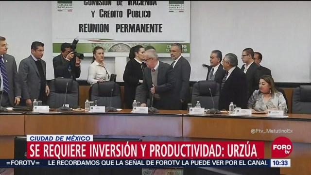 Carlos Urzúa comparece ante Comisión de Hacienda de Cámara de Diputados