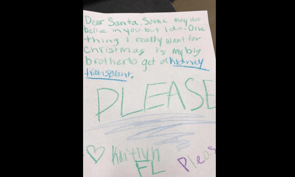 Carta Niña Riñón Santa Claus Hermano