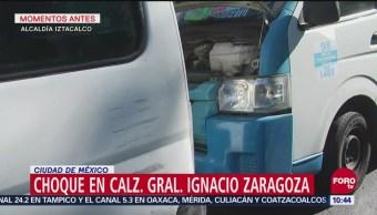 Choque de unidades de transporte público en Ignacio Zaragoza deja cuatro heridos