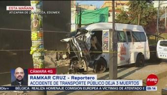 Choque en Atizapán de Zaragoza deja tres muertos y 10 heridos