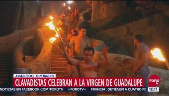 Clavadistas de Acapulco celebran a la Virgen de Guadalupe