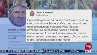 De una u otra manera se construirá el muro fronterizo: Trump
