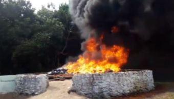 Sedena destruye una tonelada de cocaína en Quintana Roo