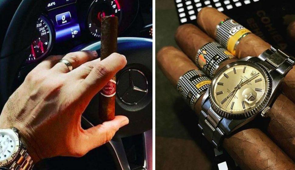 El magistrado Serrano Ruíz a menudo difundía imagenes de su colección de relojes, bebidas, puros y otros artefactos de lujo (Noticieros Televisa)