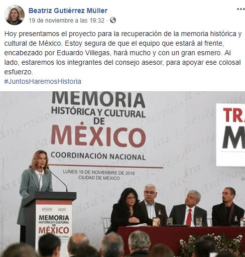 Beatriz Gutiérrez Múller no asumirá el papel de primera dama