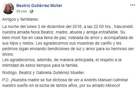 Muere suegra de AMLO en Puebla