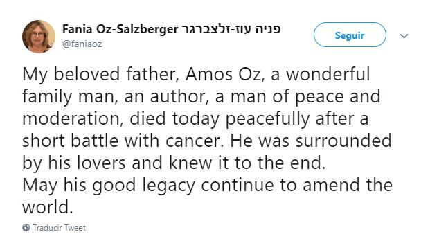 Fania Oz-Salzberg anuncia la muerte de su padre. (@faniaoz)