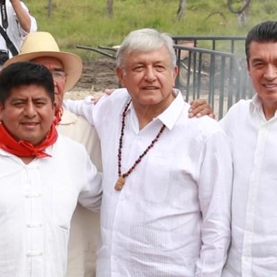 AMLO encabeza ritual junto al gobernador Rutilio Escandón para iniciar obras del Tren Maya