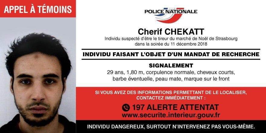 Sospechoso de atentado en Estrasburgo continúa prófugo